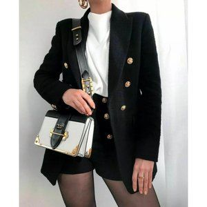 NWT Zara Double Breasted Textured Tweed Blazer